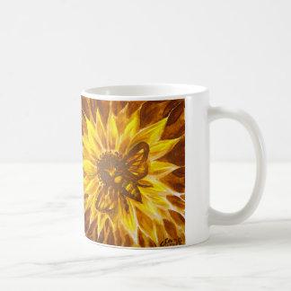 Caneca De Café Abelha do mel e flor amarela