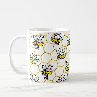 Caneca De Café abelhas felizes do mel dos desenhos animados
