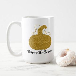 Caneca De Café Abóbora feliz do brilho do ouro do Dia das Bruxas