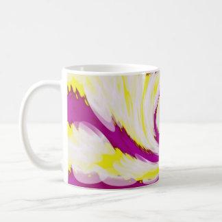 Caneca De Café Abstrato branco amarelo cor-de-rosa Groovy do