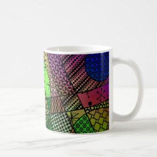Caneca De Café Abstrato colorido com texturas & padrões