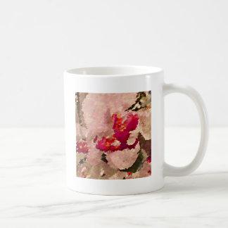 Caneca De Café Abstrato vermelho e branco da orquídea