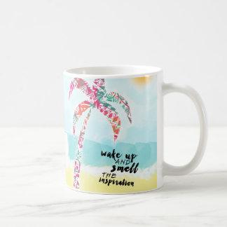 Caneca De Café acorde e cheire a inspiração, a praia e a palma