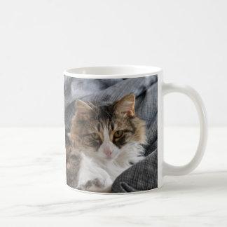 Caneca De Café Agrida a jovem corça peludo do amigo/gato longo