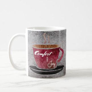 Caneca De Café Aguarela cinzenta roxa de Borgonha do conforto e