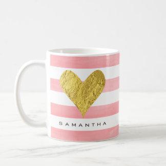 Caneca De Café Aguarela com coração da folha de ouro