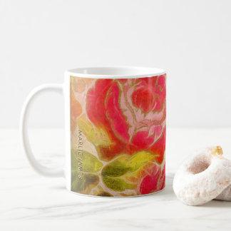 Caneca De Café Aguarela feminino floral do rosa do vintage com