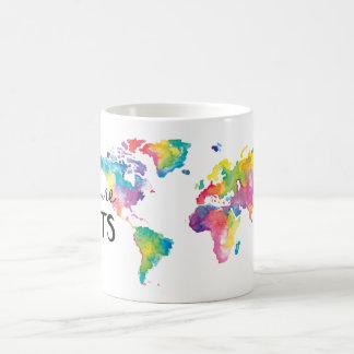 Caneca De Café Aguarela que meu mundo por Moda ilustrou
