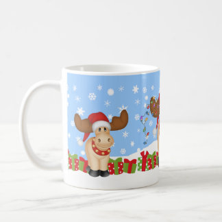 Caneca De Café Alces do Natal com presentes