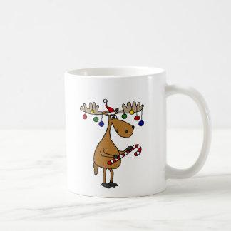 Caneca De Café Alces do Natal do divertimento com bastão e