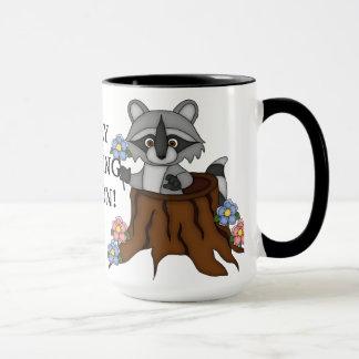 Caneca de café alegre da pessoa da manhã