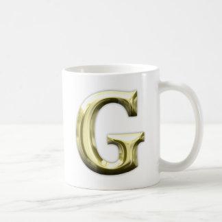 Caneca De Café Alfabeto brilhante do ouro de G da letra dourada