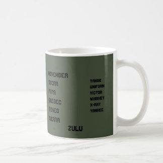 Caneca De Café Alfabeto verde da OTAN do OD