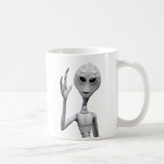 Caneca De Café Alienígena cinzenta amigável