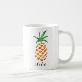 Caneca De Café Aloha abacaxi tropical da aguarela