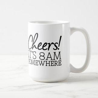 Caneca De Café Amante engraçado do café - elogios! É 8am em algum