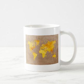 Caneca De Café amarelo do mapa do mundo