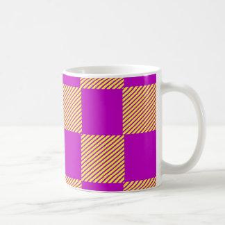 Caneca De Café Amarelo e quadrados de Borgonha