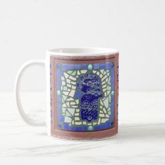 Caneca De Café Amarelo e verde azuis do mosaico de Hamsa