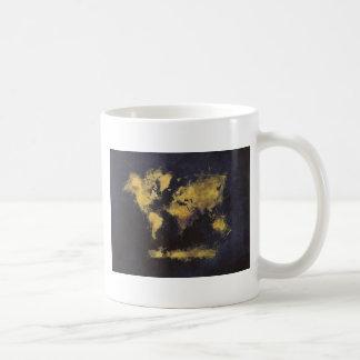 Caneca De Café amarelo preto do mapa do mundo