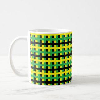 Caneca De Café Amarelo, verde abstrato e preto