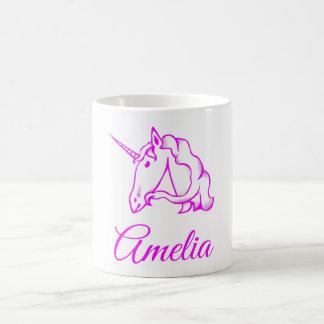 Caneca De Café Amelia ou seu mágico bonito do unicórnio