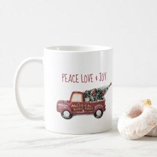 Caneca De Café Amor & alegria da paz com Feliz Natal do caminhão