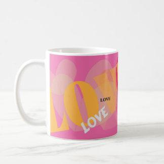 Caneca De Café Amor, amor, amor, rosa, amarelo, namorados