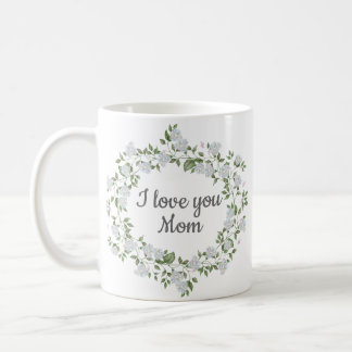 Caneca De Café Amor floral branco da grinalda você dia das mães