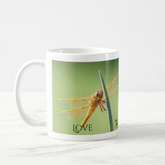 Caneca De Café Amor, sabedoria, fé, libélula