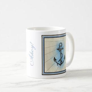 Caneca De Café Âncora náutica do vintage - ahoy! Ou sua própria