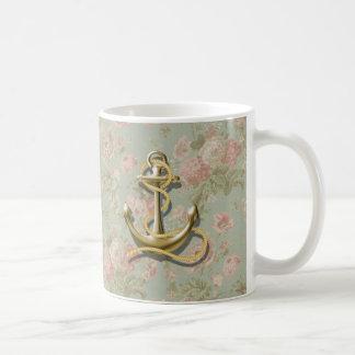 Caneca De Café âncora náutica feminino floral do país francês