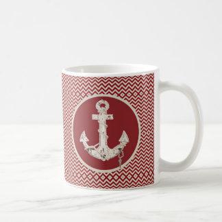 Caneca De Café Âncora náutica formal da praia da viga de Borgonha