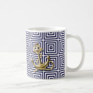 Caneca De Café Âncora náutica formal do teste padrão grego azul