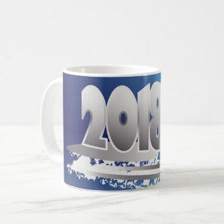 Caneca De Café ano novo da safira e da prata
