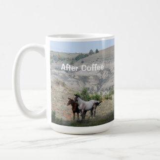 Caneca De Café Antes & após do café com cavalos selvagens