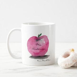 Caneca De Café Apple com nome do professor, do estudante, costume