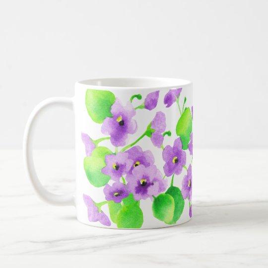 Caneca De Café Aquarela Violeta Flor Decorativa Bonita Clássica