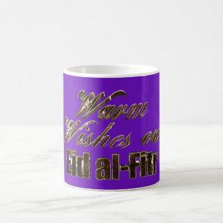 Caneca De Café Aqueça desejos na tipografia roxa do ouro de Eid