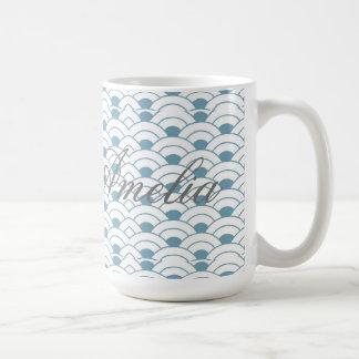 Caneca De Café Art deco, cerceta, branco, vintage, teste padrão