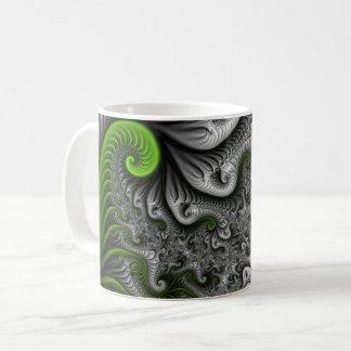 Caneca De Café Arte abstrata do Fractal do verde e das cinzas do