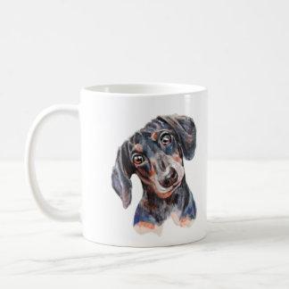 Caneca De Café Arte colorida da cabeça do filhote de cachorro do