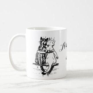 Caneca De Café Arte da casa do gato de Wain do vintage