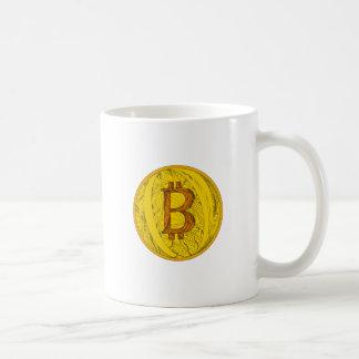 Caneca De Café Arte do Doodle de Bitcoin