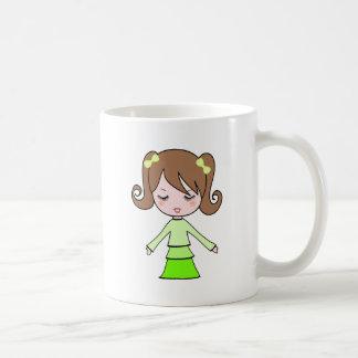Caneca De Café Arte dos desenhos animados do vestido do verde da