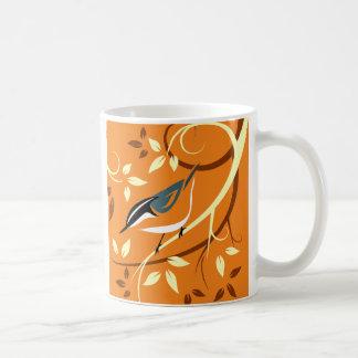 Caneca De Café Arte estilizado do pássaro - pica-pau-cinzento