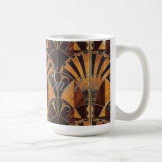 Caneca De Café arte Nouveau, art deco, vintage, multi cores de