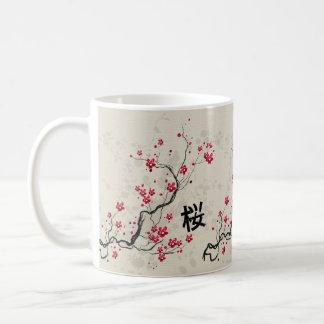 Caneca De Café Arte oriental da flor de cerejeira de Sakura do
