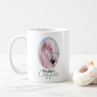 Caneca De Café Arte Pastel do flamingo cor-de-rosa personalizada