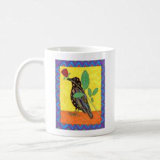 Caneca De Café Arte popular do mexicano do corvo & da rosa